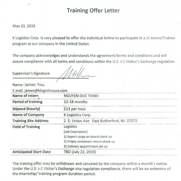 CONFIRMATION FOR TRANING OFFER